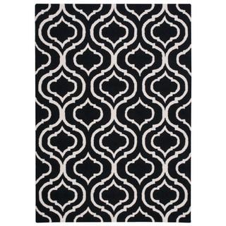 Safavieh Moroccan Reversible Dhurrie Black Ivory Wool Area
