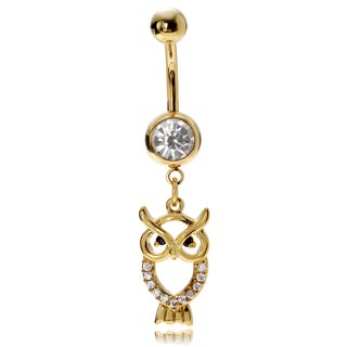 Misbehave Stainless Steel Cubic Zirconia Owl Navel Ring
