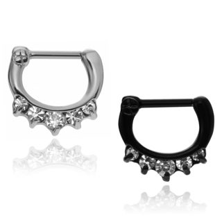 Misbehave Stainless Steel Cubic Zirconia Septum Clicker Set