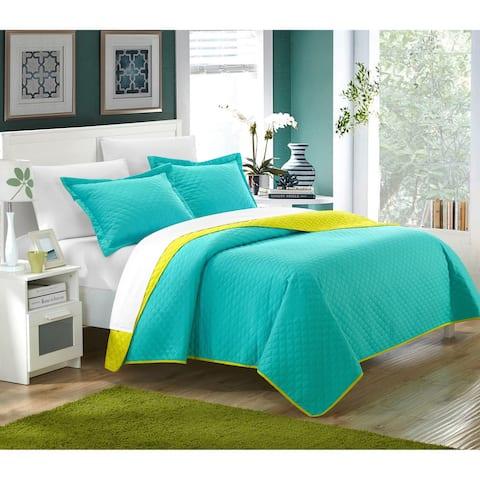 Chic Home Ressa Reversible Color Block 3-piece Quilt and Sham Set