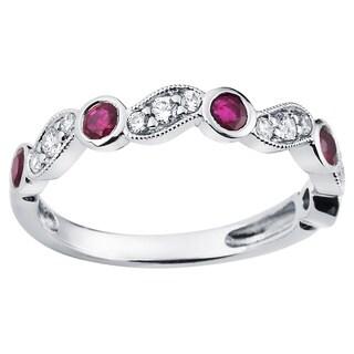 Boston Bay Diamonds 14k White Gold Ruby and 1/5ct TDW Diamond Fashion Ring (H-I, SI1-SI2)