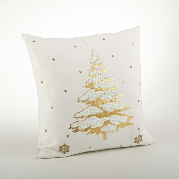 Embr. & Foil Print Throw Pillow - 20inch