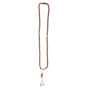 Nepal Turquoise Glass Rudraksha Mala Prayer Beads (Nepal)