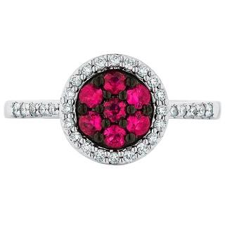 Boston Bay Diamonds 14k White Gold Ruby and 1/5ct TDW Diamond Fashion Dandelion Ring (H-I, SI1-SI2)