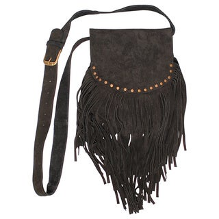 Handmade Boho Chic Crossbody Fringed Suede Purse (India)