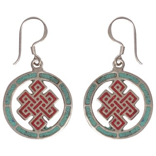 Handmade Infinity Knot Turquoise Coral Earrings (Nepal)