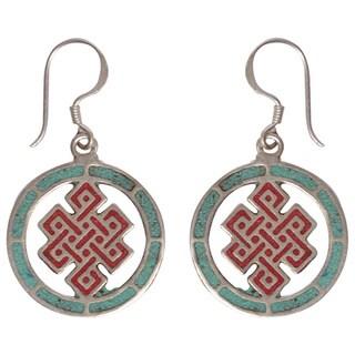 Handmade Infinity Knot Turquoise Coral Earrings (Nepal)