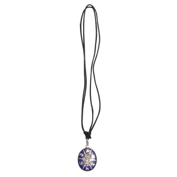 Tibetan Prayer Dorje Pendant Necklace with Lapis (Nepal)
