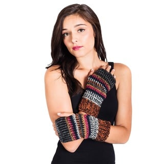 Handmade Women's Winter Classic Mohair Wool/ AcrylicKnit Glittens Fingerless Gloves (Nepal)