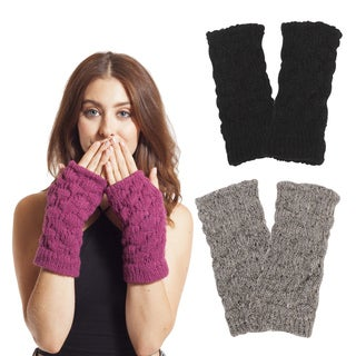 Women's Winter Classic Acrylic Knit Glittens Fingerless Gloves (Nepal)