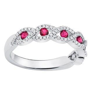 Boston Bay Diamonds 14k White Gold Ruby and 1/4ct TDW Diamond Fashion Braided Ring (H-I, SI1-SI2)
