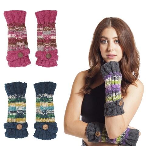 Handmade Women's Winter Classic Fleece Knit Glittens Fingerless Gloves (Nepal)