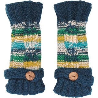 Women's Winter Classic Fleece Knit Glittens Fingerless Gloves (Nepal)