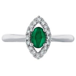 Boston Bay Diamonds 14k White Emerald and 1/5ct TDW Diamond Fashion Iris Ring (H-I, SI1-SI2)