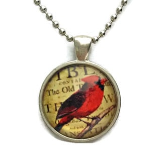 Atkinson Creations Red Cardinal Bird Vintage Design Glass Dome Pendant Necklace