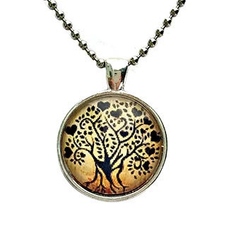 Atkinson Creations Love Tree Silouette Glass Dome Pendant Necklace