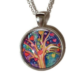 Atkinson Creations 'Rainbow Tree of Hearts' Circle Pendant Necklace