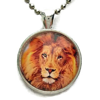 Atkinson Creations The Lion 'King of The Jungle' Glass Dome Necklace