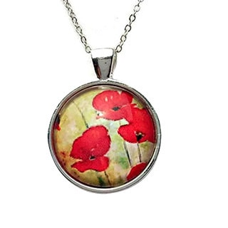 Atkinson Creations Field of Poppies Glass Dome Pendant Necklace