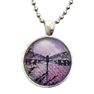 Atkinson Creations Lavender Dragonfly Glass Dome Necklace