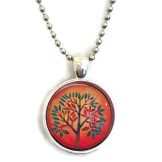 Atkinson Creations The Orange Mod Tree Glass Dome Necklace