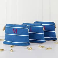 Personalized Blue Striped Cosmetic Bag