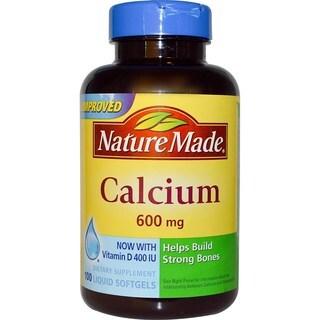 Nature Made Calcium with Vitamin D 400 IU 600 mg (100 Liquid Softgels)