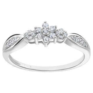 SummerRose 14k White Gold 1/4ct TDW Diamond Flower Ring