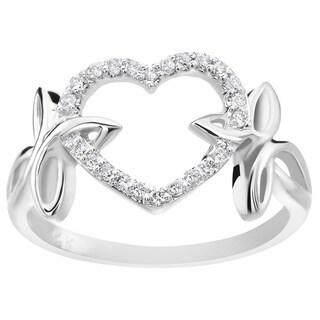 SummerRose 14k White Gold 1/6ct TDW Diamond Fashion Heart Ring