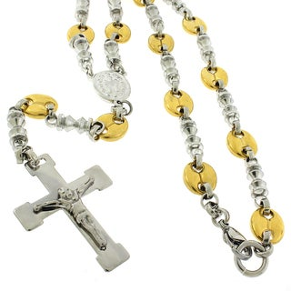 Stainless Steel 8mm Rosary Puff Mariner Two-tone Chain Necklace