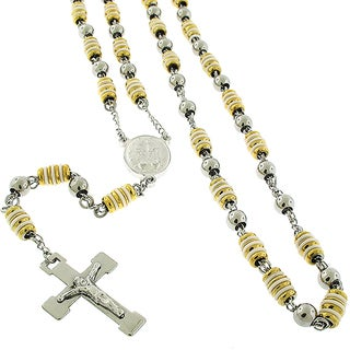 Stainless Steel 6mm Two Tone Rubber Rosary Chain Necklace