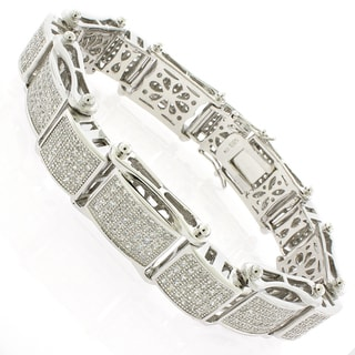 Rhodium-plated Sterling Silver Men's Cubic Zirconia 8.5-inch Bracelet