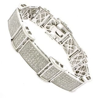 Rhodium-plated Sterling Silver Men's Cubic Zirconia 8.5-inch Rectangle Bracelet