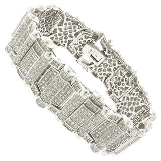 Rhodium-plated Sterling Silver Men's Cubic Zirconia 8.75-inch Bracelet