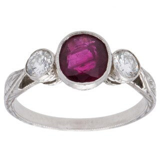 Platinum Ruby and 2/5ct TDW Diamond 3-stone Vintage Ring (H-I, SI1-SI2) (Size 6)