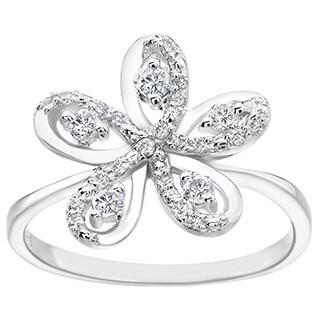 SummerRose 14k White Gold 1/3ct TDW Diamond Flower Ring