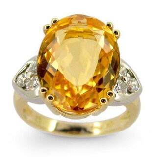 Kabella Luxe 18k Yellow Gold Oval Imperial Topaz 1/2ct TDW Diamond Cocktail Ring (G-H, SI1-SI2)