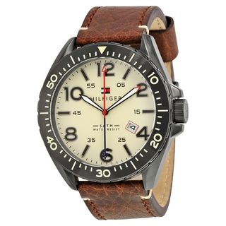 Tommy Hilfiger Men's 1791133 Casual Sport Round Brown Leather Strap Watch
