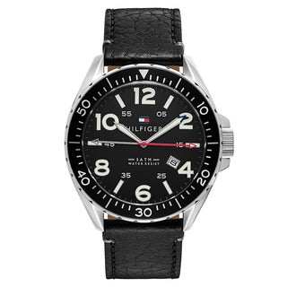 Tommy Hilfiger Men's 1791131 Casual Sport Round Black Leather Strap Watch