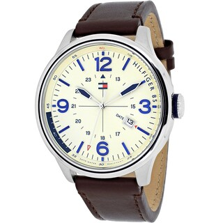 Tommy Hilfiger Men's 1791102 Casual Sport Round Brown Leather Strap Watch