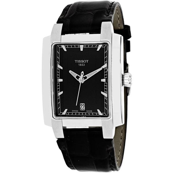 tissot s t0615101605100 txl rectangle black leather