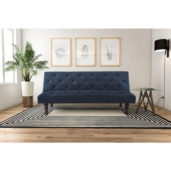 Dhp orfino blue velour futon free shipping today for Velour divan beds