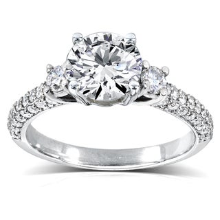 Annello by Kobelli 14k White Gold 1 1/2ct TDW Diamond Three Stone Engagement Ring