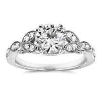 Annello by Kobelli 14k White Gold 1 1/5ct TDW Diamond Floral Antique Engagement Ring