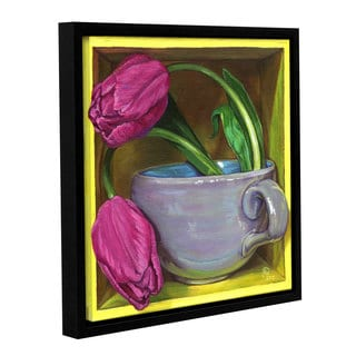 ArtWall Paige Wallis 'Tea & Tulips' Gallery-wrapped Floater-framed Canvas