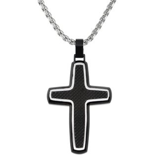 Blackplated Stainless Steel Textured Cross Pendant Necklace