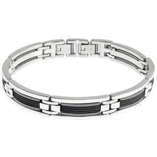 Stainless Steel and Creamic Cable Inlay Bracelet