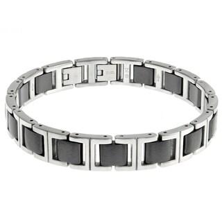 Men's Stainless Steel Black Ceramic Link Bracelet
