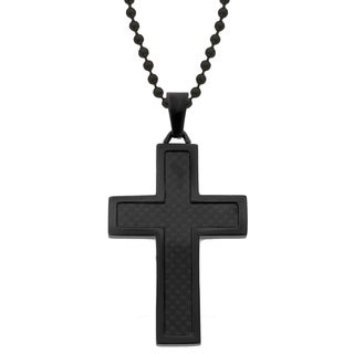 Blackplated Stainless Steel Carbon Fiber Cross Pendant Necklace