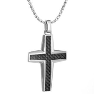 Stainless Steel Carbon Fiber Cross Pendant Necklace